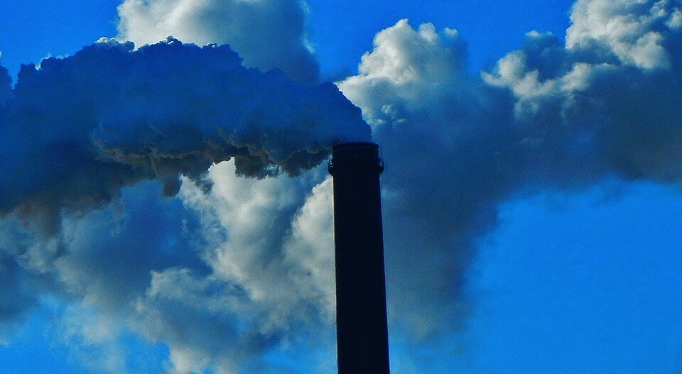 Chimney smoking out of production plant